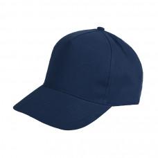 Бейсболка HIT, 5 клиньев, застежка на липучке, темно-синий