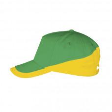 Бейсболка BOOSTER, металлическая застежка, желтый и зеленый