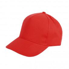 Бейсболка HIT, 5 клиньев, застежка на липучке, красный