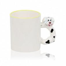 Кружка керамика белая, с фигурной ручкой собака 330 мл