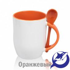 Кружка керамика белая, внутри, ручка и ложка оранжевая 330мл