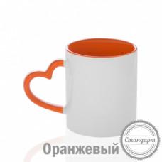 Кружка керамика белая, с фигурной ручкой сердце оранжевая внутри и ручка стандарт 330мл