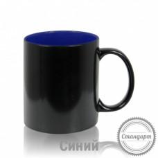 Кружка керамика хамелеон черная внутри синяя стандарт 330мл