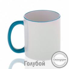 Кружка керамика белая, ободок и ручка голубая стандарт 330мл