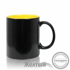 Кружка керамика хамелеон черная внутри жёлтая стандарт 330мл