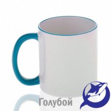 Кружка керамика белая, ободок и ручка голубая премиум 330мл