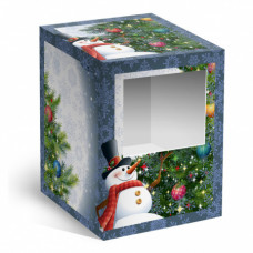 Коробка под елочный шарик Снеговик