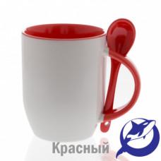 Кружка керамика белая, внутри, ручка и ложка красные 330мл