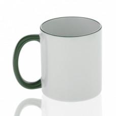 Кружка керамика белая, ободок и ручка зеленая премиум 330мл
