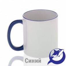 Кружка керамика белая, ободок и ручка синие премиум 330мл