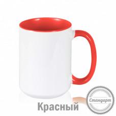 Кружка керамика белая, внутри и ручка красная стандарт 420мл