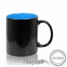 Кружка керамика хамелеон черная внутри голубая стандарт 330мл