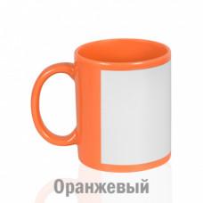 Кружка керамика оранжевая, с белым полем для печати (8,2х16,8см) стандарт 330мл