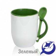 Кружка керамика белая, внутри, ручка и ложка зелёная 330мл