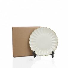 Тарелка фарфор белая волнистая золотой край D190мм