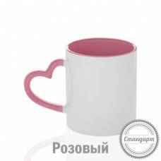 Кружка керамика белая, с фигурной ручкой сердце розовая внутри и ручка стандарт 330мл