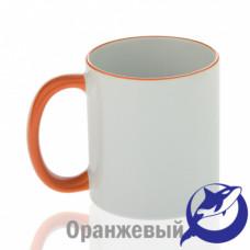 Кружка керамика белая, ободок и ручка оранжевая премиум 330мл