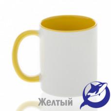 Кружка керамика белая, внутри и ручка желтая премиум 330мл