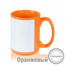 Кружка керамика оранжевая, с белым полем для печати стандарт 420мл