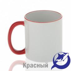 Кружка керамика белая, ободок и ручка красная премиум 330мл