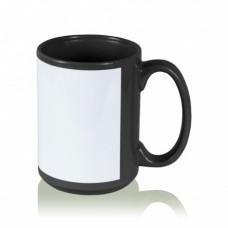 Кружка керамика черная, с белым полем для печати стандарт 420мл