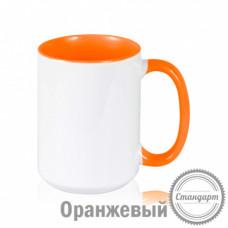 Кружка керамика белая, внутри и ручка оранжевая стандарт 420мл