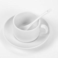 Кружка керамика белая, кофейная, с блюдцем и ложкой 110мл