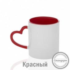 Кружка керамика белая, с фигурной ручкой сердце красная внутри и ручка стандарт 330мл
