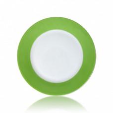 Тарелка керамика белая с орнаментом салатовый край 200мм