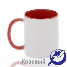 Кружка керамика белая, внутри и ручка красная премиум 330мл