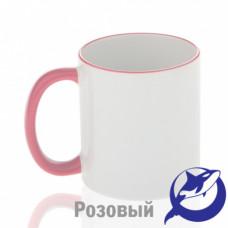 Кружка керамика белая, ободок и ручка розовая премиум 330мл