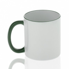 Кружка керамика белая, ободок и ручка зеленая стандарт 330мл