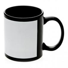 Кружка керамика черная, с белым полем для печати премиум 330мл