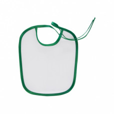 Слюнявчик белый, ПЭ, кант зелёный, 220х240мм