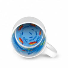 Кружка керамика белая принт внутри Морское дно 330мл