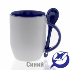Кружка керамика белая, внутри, ручка и ложка синие 330мл