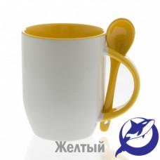 Кружка керамика белая, внутри, ручка и ложка желтые 330мл