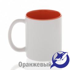 Кружка керамика белая, внутри оранжевая премиум 330мл
