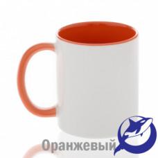 Кружка керамика белая, внутри и ручка оранжевая премиум 330мл