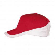 Бейсболка BOOSTER, металлическая застежка, красный и белый