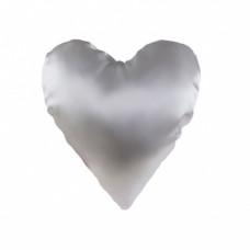 Наволочка в форме сердца, атлас, 40х40 см, белая