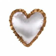 Наволочка в форме сердца, атлас, 40х40 см, белая, рюши золотые