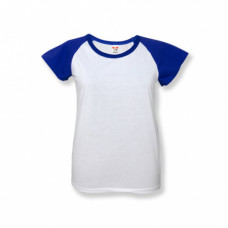 Футболка женская «Color», хлопок и имитация хлопка, синий рукав 48 (L)