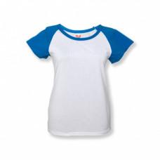 Футболка женская «Color», хлопок и имитация хлопка, бирюзовый рукав 42 (XS)