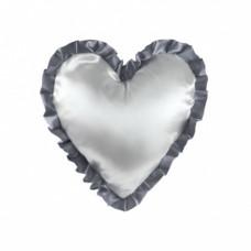 Наволочка в форме сердца, атлас, 40х40 см, белая, рюши серебряные
