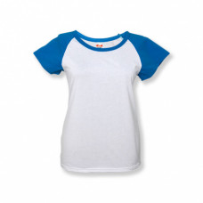 Футболка женская «Color», хлопок и имитация хлопка, бирюзовый рукав 52 (2XL)