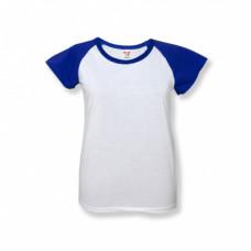 Футболка женская «Color», хлопок и имитация хлопка, синий рукав 52 (2XL)