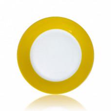 Тарелка керамика белая с орнаментом жёлтый край 200мм