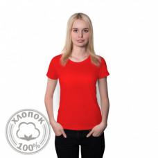 Футболка женская хлопок красный 42 (XS)
