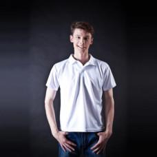 Рубашка поло, мужская, белая, ложная сетка, ПЭ, S